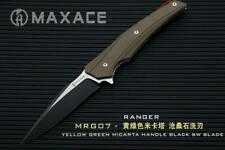 Maxace Ranger Folder Knife Green Micarta Handle Plain Black SW XW42 MRG07