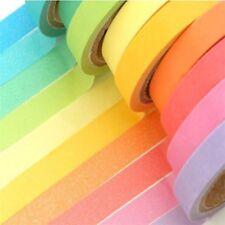 10x Rainbow Washi Sticky Paper Colorful Masking Adhesive Tape DIY Scrapbook USA