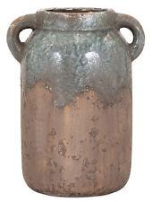 "Rustic Primitive Blue Stone Clay Ceramic Pot Vase 2 Handles Weathered 10.25"" H"
