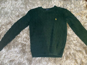 Polo Ralph Lauren Men's Crewneck Cotton Cable Knit Pullover Sweater Size M Green