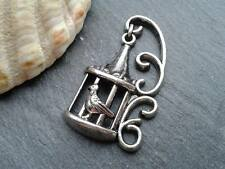 Antique Silver Ornate Bird Cage Charms 10pcs D3 Steampunk Pendant Vintage Kitsch