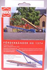 H0 BUSCH 2 Förderbänder höhenverstellbar blau grau höhenverstellbar NEU # 1374