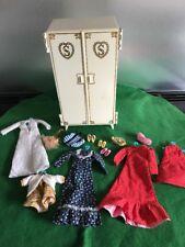 Vintage Pedigree Sindy Own Wardrobe + Clothes Red dress Wedding Hangers Shoes
