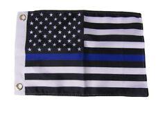 "12x18 12""x18"" USA Police Memorial Thin Blue Line Silk Nylon-Polyester Flag"
