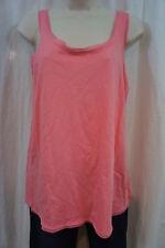 Hue Sleepwear Tank Sz S Strawberry Pink Organza Trim Cotton Pajama Top
