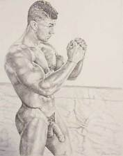 "9"" x 12"" drawing print nude male vintage boxing practice diptych A gay interest"