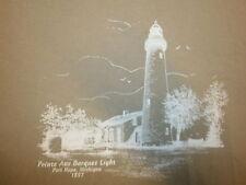 POINTE AUX BARQUES LIGHT LIGHTHOUSE T SHIRT Port Hope Michigan 1857 Lake Huron M