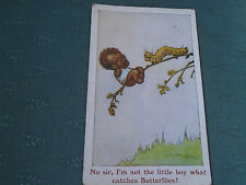 1924 COMIC SALMON POSTCARD NO SIR IM NOT THE LITTLE BOY WHAT CATCHES BUTTERFLIES