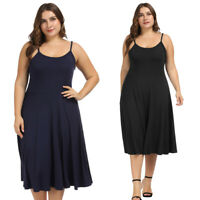 US Women's Plus Size Rayon Spaghetti Straps Knee Length Dress Knee Length