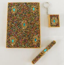 Handcrafted Gold & Multi Beaded Journal / Diary with Pen & Keychain