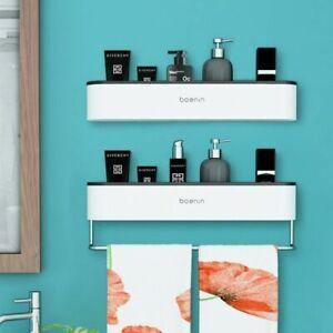 Bathroom Organizer Shelf 45x14x8cm Plastic Wall Mount Rack Cosmetic Towel Holder