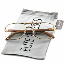 Elite WOOD Buffs Art Nouveau RETRO Rectangular Metal Frame Clear Lens EyeGlasses