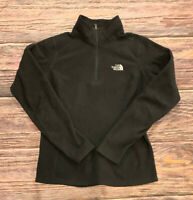 THE NORTH FACE Womens 1/4 Zip Polo Fleece Long Sleeve BLACK Sweater Size S