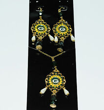 Green Bay Packers  Baroque Necklace and Earrings Set -  Ships Tomorrow