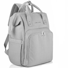 New! Large Diaper Bag Backpack 6 Insulated Pockets Stroller Straps Gray