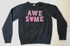 "OshKosh B'gosh Girls' LS ""Awesome"" Dk Heather Gray Sweater Sz 8 EUC"