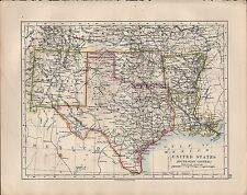 1914 MAP ~ UNITED STATES SOUTH-WEST CENTRAL ~ TEXAS NEW MEXICO OKLAHOMA ARKANSAS