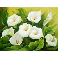 5D Full Drill Diamond Painting kit White Flower Cross Stitch Embroidery Decor