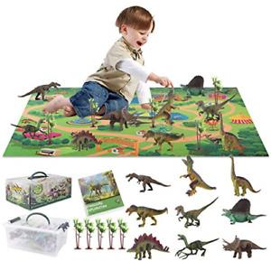 Eutionho Dinosaur Toy Figure, Kids Realistic Dinosaur Playmat With 9 Dinasours &