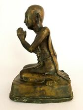 "Antique Fine Bronze Religious Buddha Praying Statue / Figure - Burma c 1820 12"""