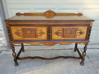 Beautiful Antique Hard Wood Buffet Cabinet