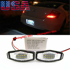 2X Direct Fit White LED License Plate Lamp Lights For Honda Civic Acura TL TSX