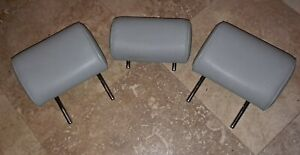 2004-2008 Audi A3 Wagon Rear Seat Leather Head Rest Light Gray Set of 3