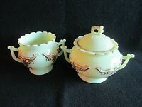 Heisey Winged Scroll Ivorina Verde (Ivory/Custard) Spooner & Sugar Bowl with Lid