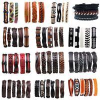 6/5/3PCS Handmed Unisex Leather Braided Wristband Cuff Punk Men Bracelet Bangle