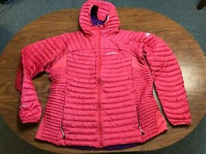 WOMENS USED EDDIE BAUER FIRST ASCENT  PINK HOODED STORM DOWN 800 JACKET 2XL