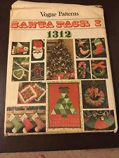 Vintage Vogue Pattern Santa Pack 1 Holiday Crafts 1312 Stocking Ornaments Pillow