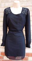 NEW LOOK BLACK BEADED PADDED SHOULDERS SHIFT SLIP PARTY SILKY FEEL TUNIC DRESS S