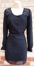 NEW LOOK BLACK BEADED PADDED SHOULDERS SHIFT SLIP PARTY SILKY FEEL TUNIC DRESS S