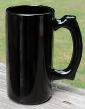 NM VINTAGE 1940's-'60s BLACK AMETHYST GLASS STRAIGHT SIDED BEER MUG w/THUMB REST
