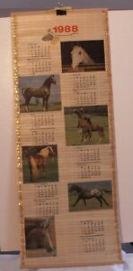 Vintage 1988 & 1989 Bamboo Calendar depicting horses