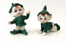 2 Vintage 1950's Porcelain Christmas Baby Elves Miniature Figurines in Green