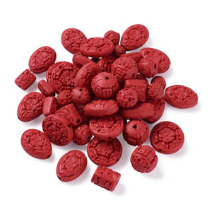 50Pcs Red Resin with Cinnabar Carved Lacquerware Mixed Beads 12~22x10~21x8~12mm