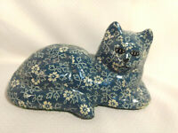Porcelain Ceramic Blue and White Floral Print Lying Cat Figurine