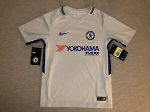 New Nike Youth Small Chelsea Grey Soccer Jersey Football Kids S Gray Blue NWT