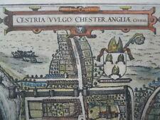 Map Cestria Chester, Braun & Hogenburg c.1581, Antique Original, French text