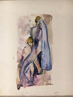 Aquarell Badende mit Handtuch Akte Expressiv Anonym Studie Skizze 17 x 17,5 cm