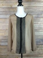 Ann Taylor Loft Women's Sheer Printed Long Sleeve Button Up Top Blouse Size XS