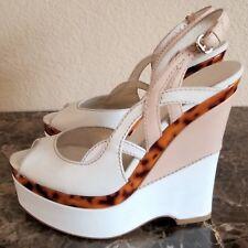 GUCCI Women's Tortoise Peep-Toe Platform Wedge Heels White Leather Size 9 / 40