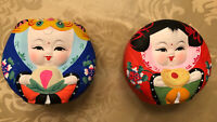 Chinese -Boy And Girl Set-Clay Doll Figures Hand Painted NEW