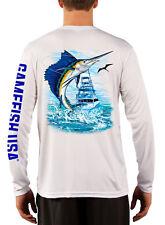 Men's UPF 50 Long Sleeve Microfiber Performance Fishing Shirt Sailfish