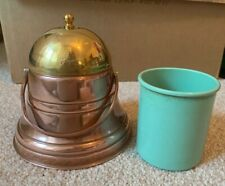 Antique Copper & Brass Tobacco Honey Jam bell jar ornament Original Green Insert