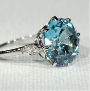 2Ct Round Cut Aquamarine Solitaire Women's Engagement Ring 14K White Gold Over