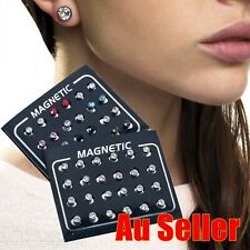 12X Round Non Piercing Magnetic Earrings Clip On Ear Stud Coloured Clear Crystal