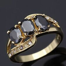 Jewellry Black Topaz Womens18K Gold Filled Nobby Band Emerald Cut Rings Size6-9