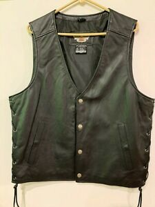 Authentic Harley Davidson Logo Mens L PATHWAY Leather Vest 98103-02VM NWOT